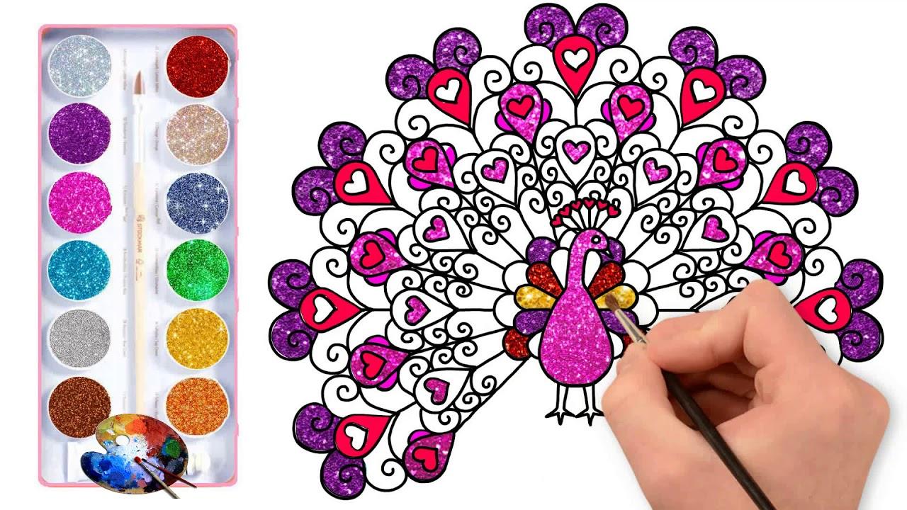 Desenho De Pavao Glitter E Coloracao Como Desenhar Um Pavao Para