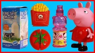 小豬佩奇佩佩豬買來各種水果蔬菜,一起玩切切樂玩具吧 !