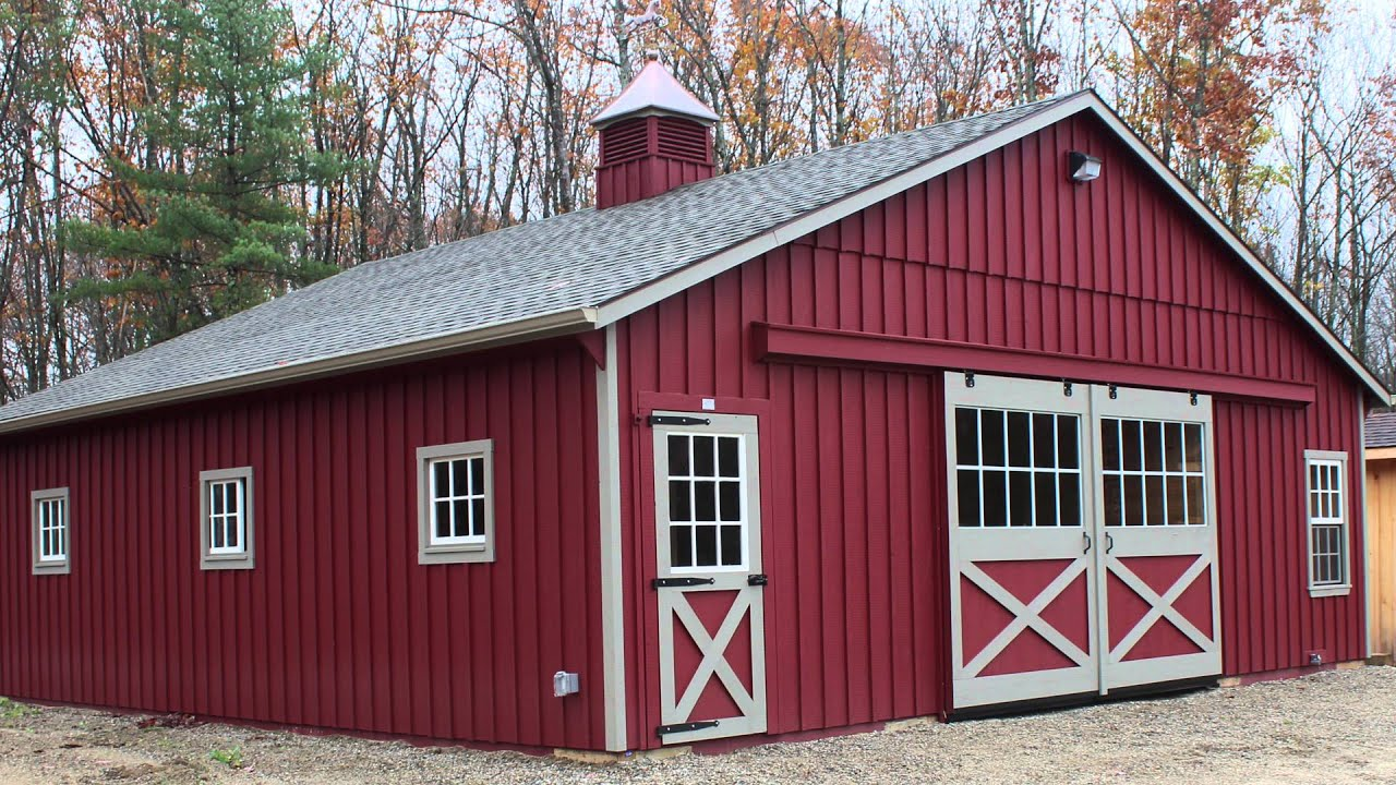 with roof horse barns shed green porch amish and