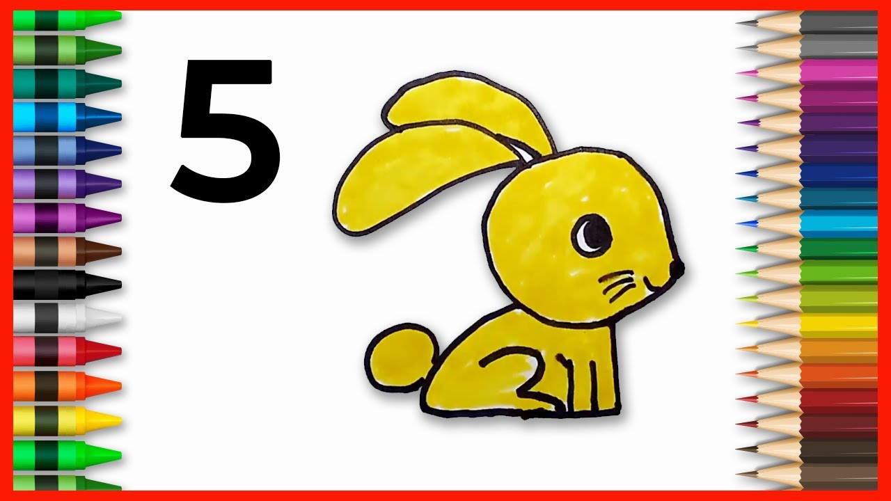 How To Draw a LITTLE BUNNY Using Number 5 – Very Easy and Fun Doodle Art ✔