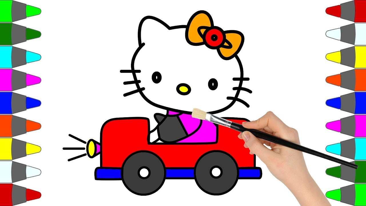 Drawing hello kitty with car coloring pages for kids to learn colors painting