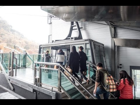 The journey on the Namsan Cable Car to N Seoul Tower in Seoul, South Korea