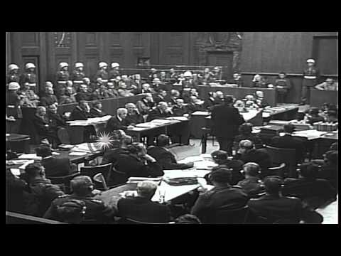 Hermann Goering answers Chief Prosecutor Robert H Jackson during the Nuremberg tr...HD Stock Footage