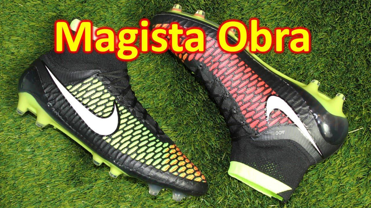 35b57a43d435 Nike Magista Obra Black Hyper Punch Volt - Unboxing + On Feet - YouTube