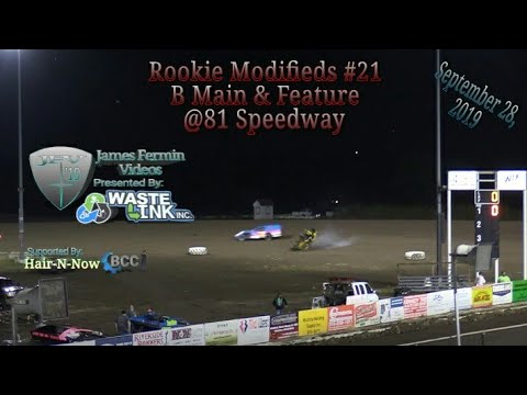 Rookie Modifieds #21, B Main & Feature, 81 Speedway, 09/28/19