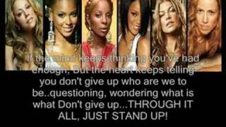 ( JUST STAND UP ) By Various Artists,,( LYRICS ).Beyonce Knowles,Ciara ,Rihanna ,Ashanti ,Leona Lewis ,Fergie , Keyshia Cole ,Mariah Carey ,Carrie Underwood ,Mary J Blidge ,Miley Cyrus ,Melissa Etheridge ,Natasha Bedingfield ,LeAnn Rimes