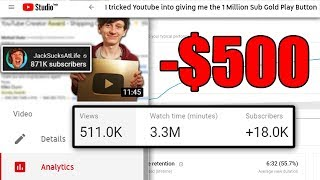 Did I make a profit on the Youtube Gold Play Button video?