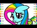 Draw My Little Pony with Rainbow Colors For Kids Drawing Coloring Pages