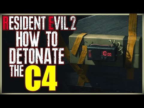 HOW TO BLOW UP THE C4 - DETONATE THE C4 IN WEST STORAGE ROOM - RESIDENT EVIL 2 REMAKE