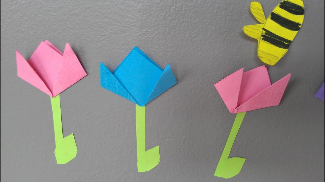 Easy Origami Tulip Spring Decorations Diff 1 10 Tulipe Tulpe Tulipan