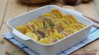 Potatoes and onions baked with oregano - Ricette che Passione