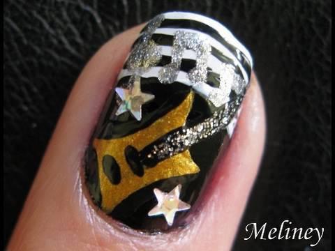 nail art tutorial guitar hero rock star music band design