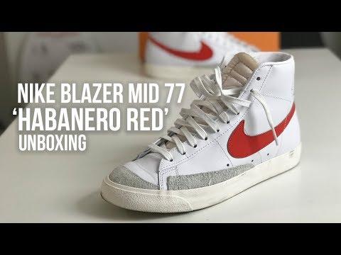designer fashion ba938 c3c64 Nike Blazer Mid 77  Habanero Red  Sneaker Unboxing - VINTAGE FEELS