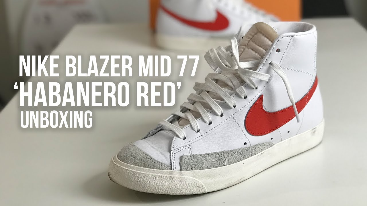 Nike Blazer Mid 77 'Habanero Red' Sneaker Unboxing - VINTAGE FEELS ...