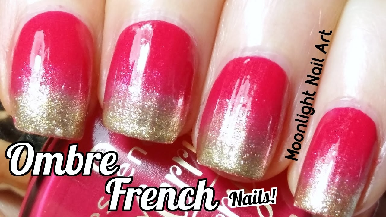 Red & Gold Ombre French Manicure (Sponge Nail Art) - YouTube