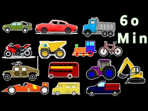 MONSTER TRUCKS - Street Vehicles, Trains - Educational Video Compilation For Kids