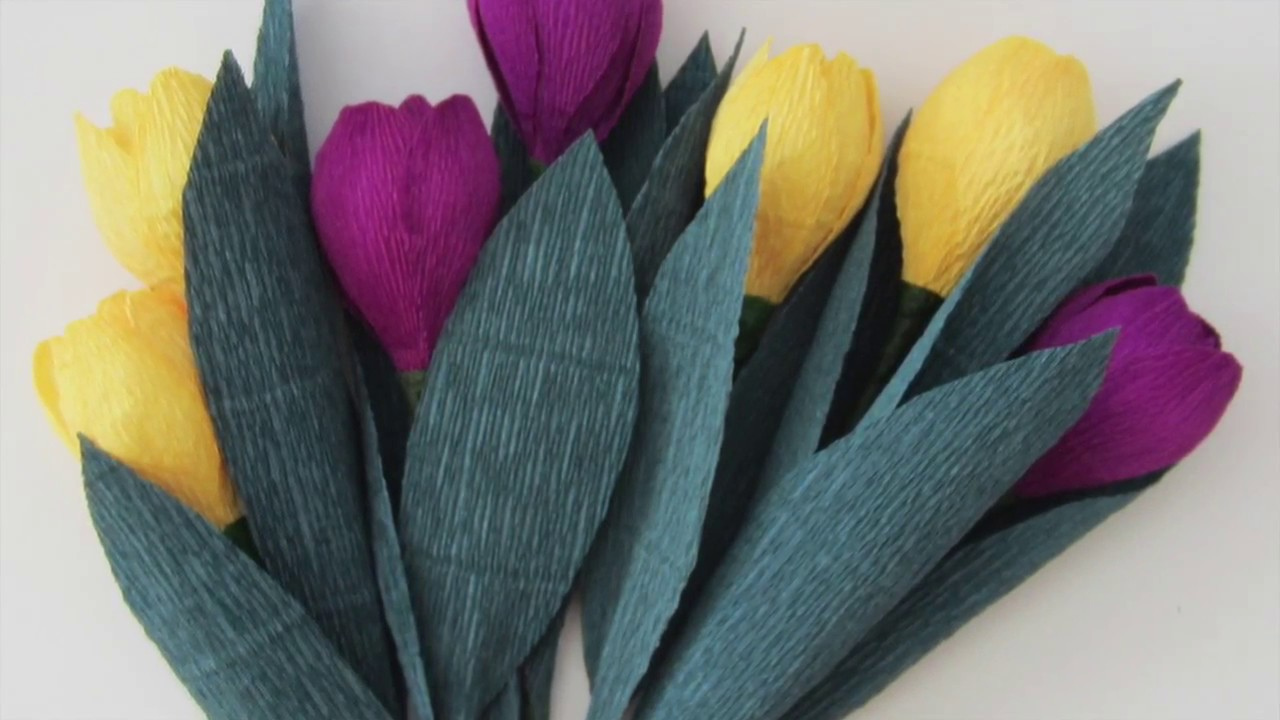 How To Make Spring Tulip Flowers Using Crepe Paper Youtube