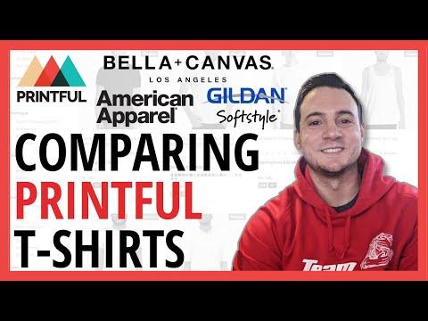 Comparing Printful T-Shirts (Bella + Canvas 3001 & 3413 / American Apparel 3001 / Gildan 64000)