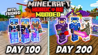 SURVIVING 200 DAYS IN HARDCORE MODDED MINECRAFT WITH FRIENDS