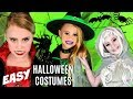 3 EASY Halloween Costumes! Vampire, Ghost and Witch Makeup and Costumes!
