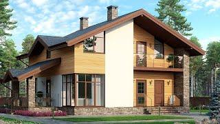 Проект дома в скандинавском стиле. Дом с мансардой, террасой и балконом. Ремстройсервис М-254