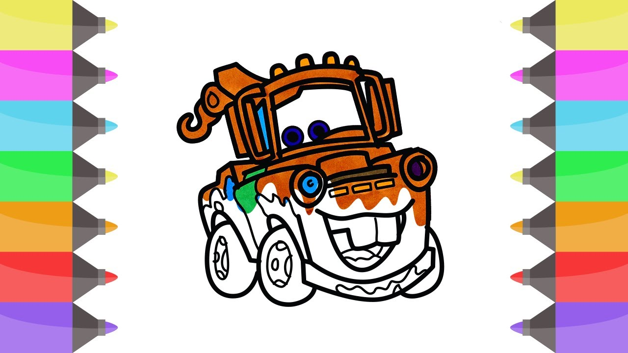 Cars 3 Coloring Pages Tow Mater Lightning McQueen Disney Book Videos For Kids