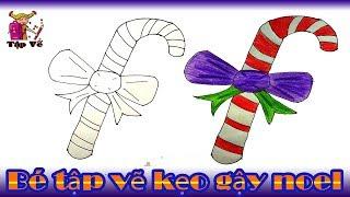 Bé tập vẽ Kẹo gậy noel theo mẫu | Draw candy Noel sticks
