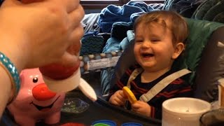 Baby Laughs at Farting Ketchup