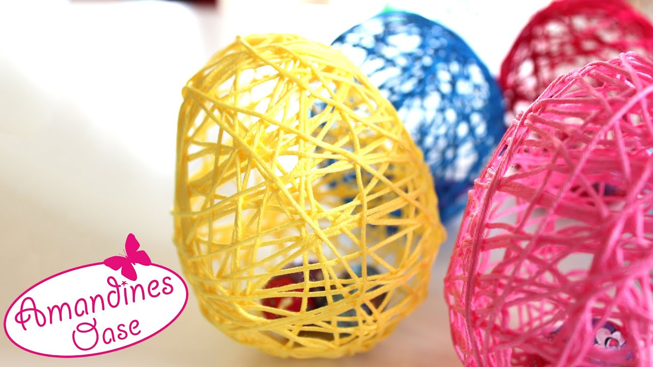 Ostereier Aus Wolle Garn Mit Hilfe Von Luftballons Diy Dekoration Und Geschenkidee