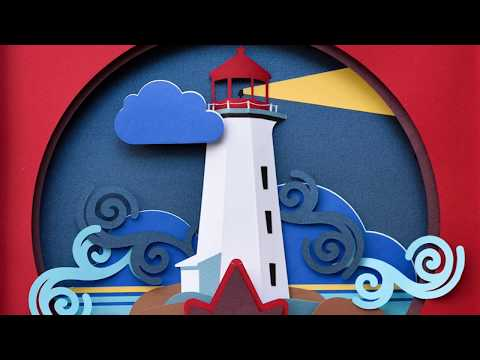Paper Cut Out Layer Illustration Art - Timelapse Video   Lighthouse 3d Paper Wall Art
