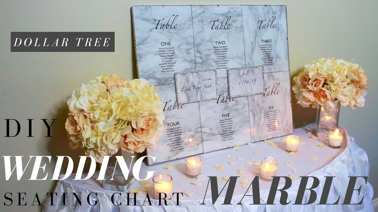 DIY WEDDING SEATING CHART | DOLLAR TREE WEDDING DIY | MARBLE WEDDING ...