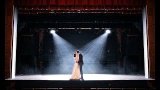 Bride & Groom Kissing on Stage