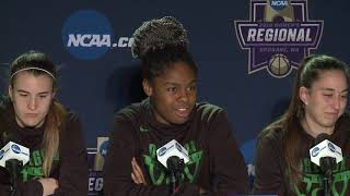 Sweet 16 Press Conference with Sabrina Ionescu, Ruthy Hebard, and Maite Cazorla