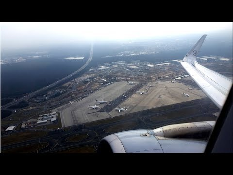 Lufthansa A320 takeoff from Frankfurt -  Terminal 3 site & DOWNTOWN VIEW!