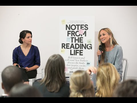 Sarah Jessica Parker and Fatima Farheen Mira at Tompkins Square Library, Notes from the Reading Life