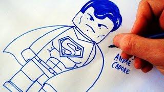 Como Desenhar o Superman Lego - (How to Draw Lego Super Man) - LEGO DRAWING #01