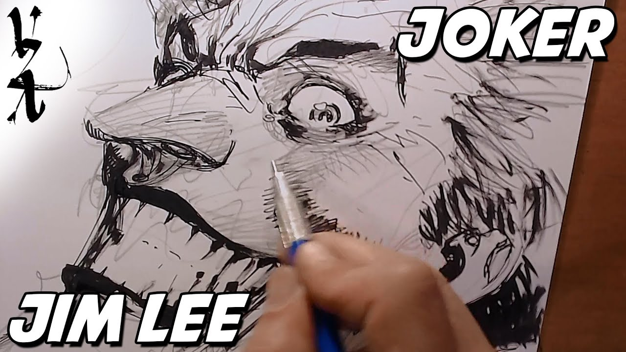 Joker Scribble Drawing : Jim lee drawing joker during twitch stream youtube