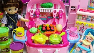 Baby Doll Play with Play Doh and Vegetables Cooking Toys