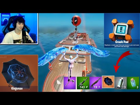 """BUGHA Tries """"KINGSMAN"""" MYTHIC Umbrella At DEADPOOL """"YACHT"""" (Fortnite 12.30 Patch Update)"""