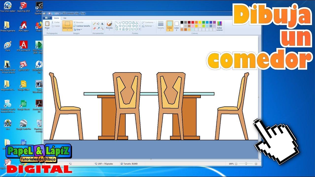 Cómo Dibujar Una Mesa Comedor Con Sillas En Ms Paint Youtube