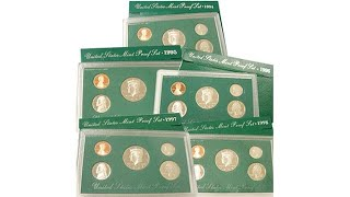 19941998 Green Box United States Mint Proof Sets