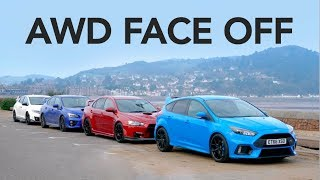 Ford Focus RS vs Subaru WRX STi vs Evo X FQ400