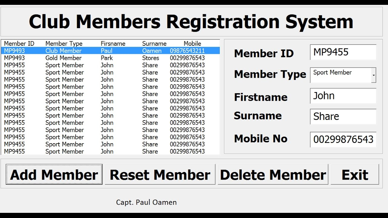 How To Create A Registration Recording System In Excel