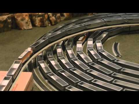 Huge Model Train Moves in an Endless Spiral Loop