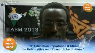 Speaker #2 Mr. Belachew Gebrewold - IP Education status in Universities and Research Institutions