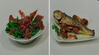 سمك بوري بالخضار - سلطة الفاصوليا بالبصل المخلل | شبكة و صنارة حلقة كاملة