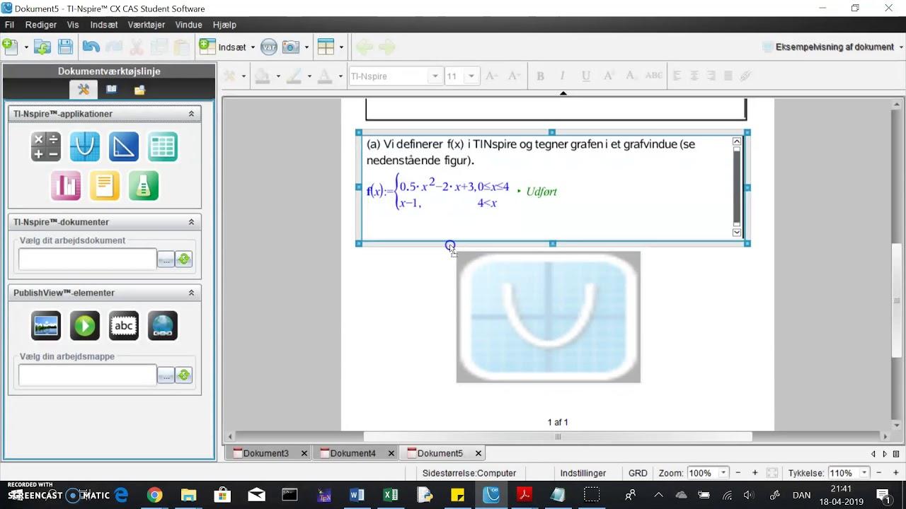 TINspire: graf af stykkevis defineret funktion f(x) og løsning af f(x)=5 vha solve