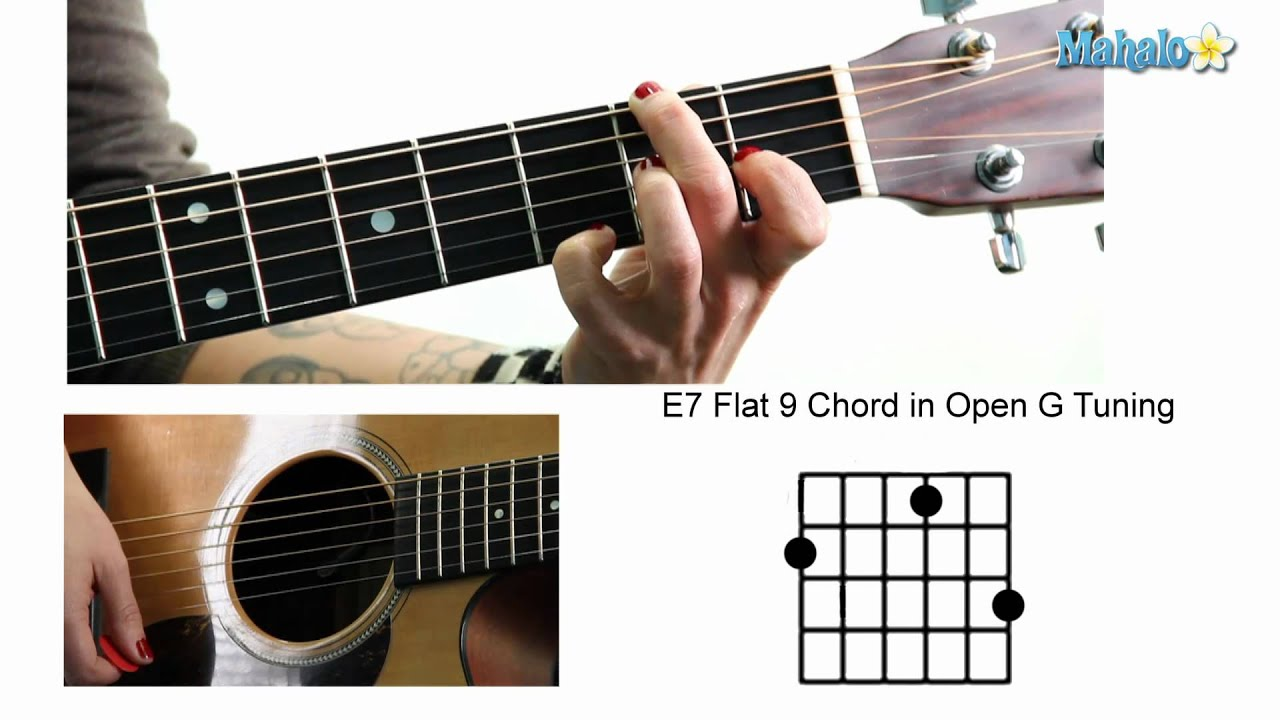 how to play an e7 flat 9 chord in open g tuning on guitar youtube. Black Bedroom Furniture Sets. Home Design Ideas