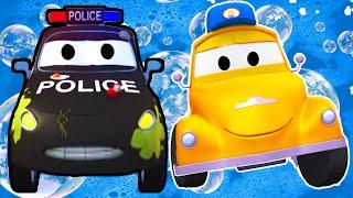 Matt el Carro Policía en el lavado de Autos de Tom La Grúa | Dibujos animados para niñas y niños