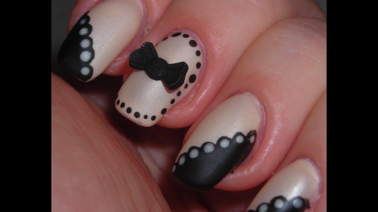 Elegant Blackbeige Nail Design Youtube